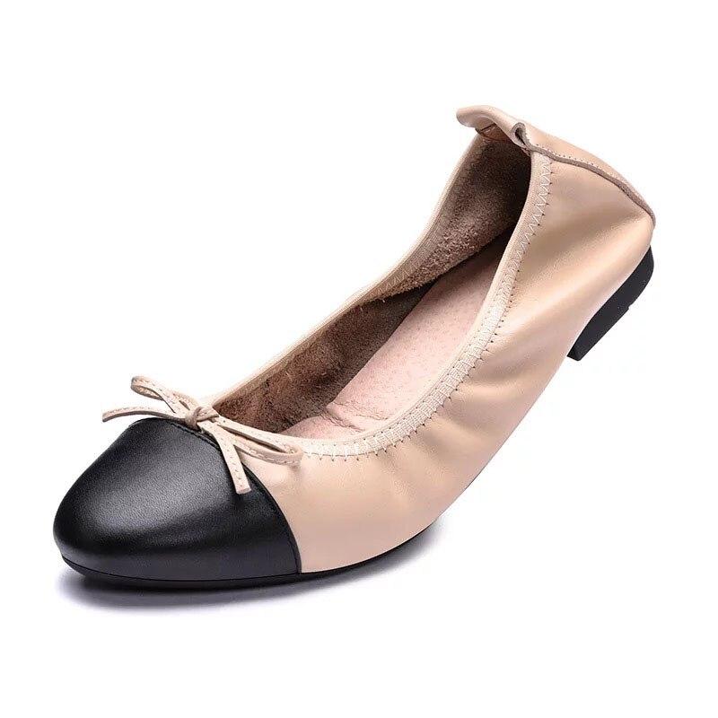 Caliente Mujeres Del Plano Ballet nudo Venta Gran Bailarines Mariposa Las Genuino Zapatos Size41 Apricot Dedo Cuero brown Mujer Pie Pisos La Redondo De aqwz7pUxI