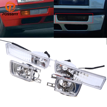 POSSBAY Car Fog Lamp Assembly for 1993-1998 VW Golf/Jetta Models Only Crystal Corner Signal Lights for 1995-1998 VW Cabrio
