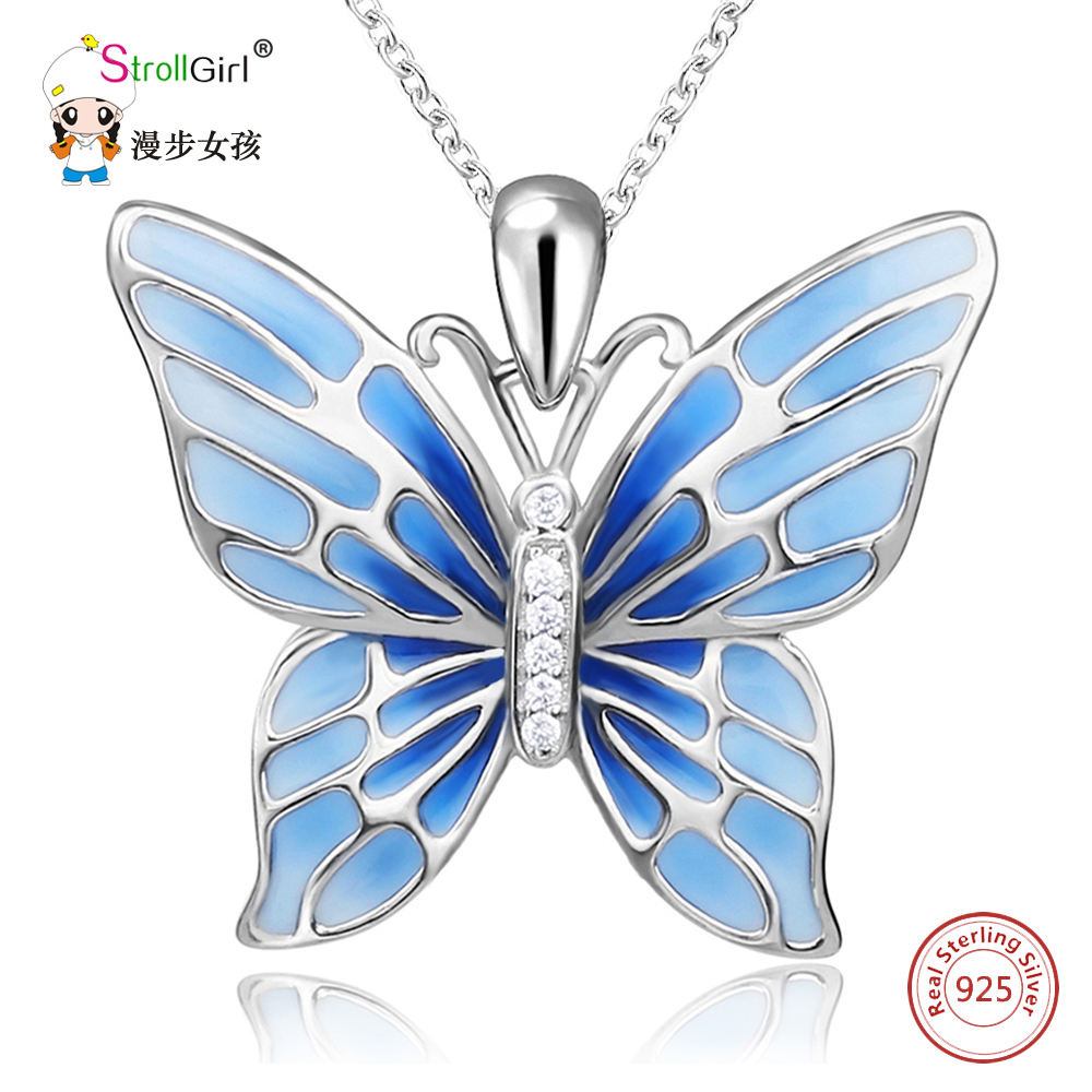StrollGirl 925 Sterling Silver Chain Pendant Necklace Fashion Jewelry Blue Butterfly Necklaces & Pendants For Women Friends 2018