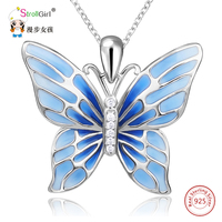 StrollGirl 925 Sterling Silver Chain Pendant Necklace Fashion Jewelry Blue Butterfly Necklaces Pendants For Women Friends