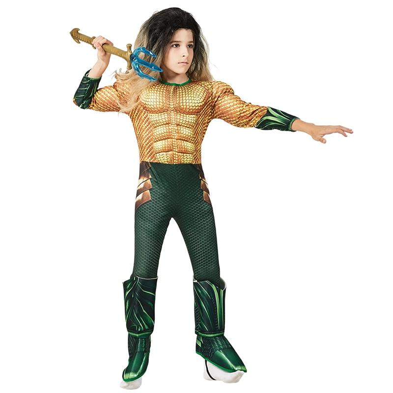 Kids Dc Comic Superhero Aquaman Muscle Dress Up Halloween Fancy Dress Cosplay Costume For Child