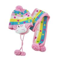 Ephex Baby Hat Pretty Dot Print Cotton Children Hat Scarf Cute Rabbit Newborn Hat Baby Boys