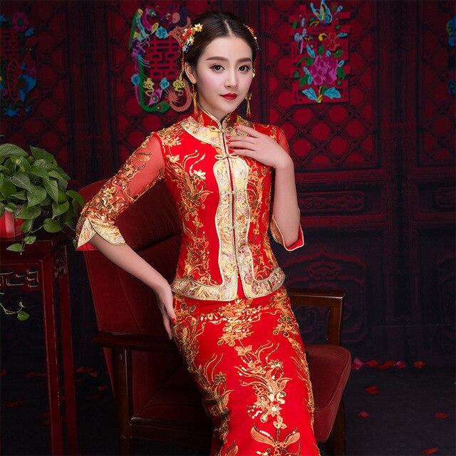 3cb8e1a74 Red Traditional Chinese Bride Wedding Gown 2019 New Cheongsam Satin Bride Dress  Women Long Burst Elegant China Qipao S-XXL