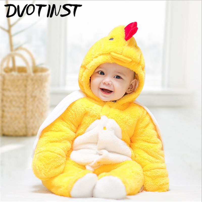 Dvotinst Baby Girls Boys Winter Plush Clothes Full Sleeves Animals Rompers Set Jumpsuit Outfit Infant Halloween Toddler Costume 2017 lovely newborn baby rompers infant bebes boys girls short sleeve printed baby clothes hooded jumpsuit costume outfit 0 18m