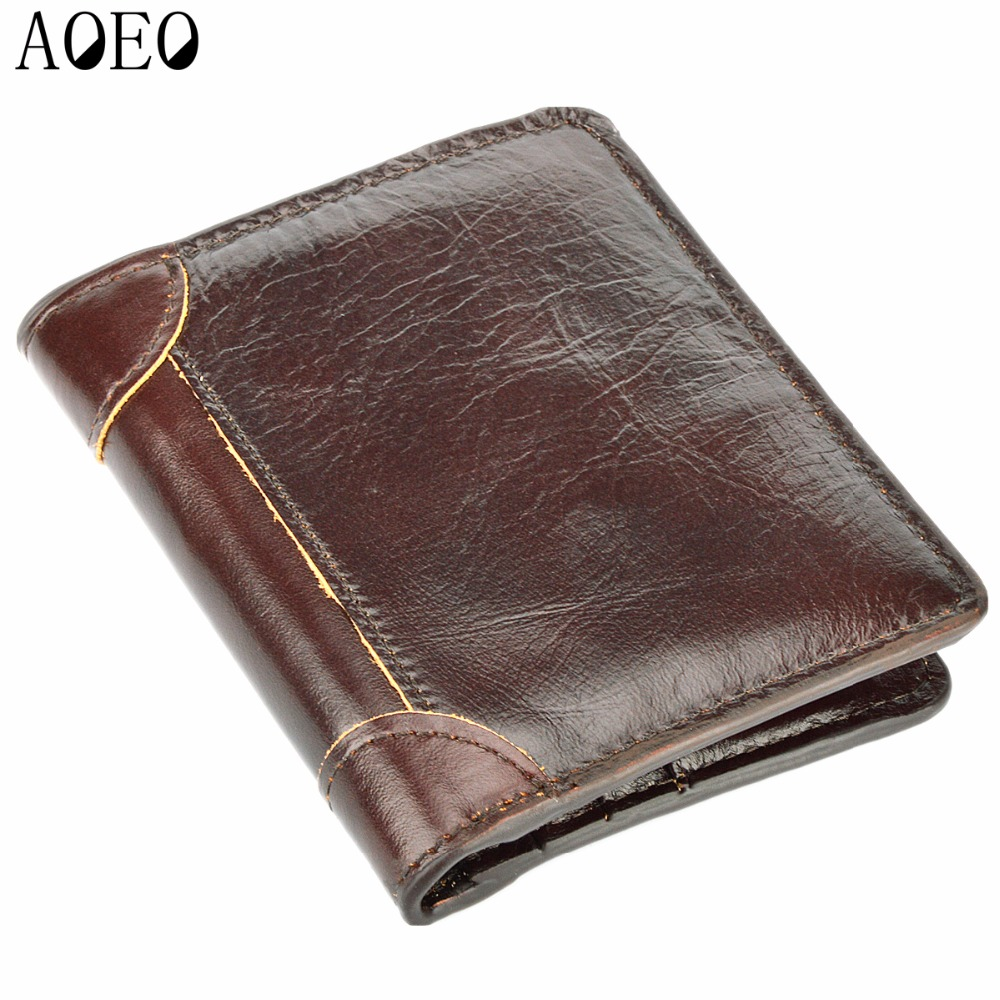 AOEO New Brand Men Wallets Fashion Male Clutch Wallet Genuine Leather Male Short Purses Solid Card Holder Purses Men Coin Purse banlosen brand men wallets double zipper vintage genuine leather clutch wallets male purses large capacity men s wallet