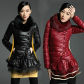 Rabbit fur collar double layer laciness lace detachable down jacket  women's boutique sweep down coat  winter overacoat