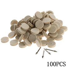 100 pçs 25mm dremel acessórios feltro de lã polimento roda polimento moagem almofada de polimento + 4pc 3.2mm shanks para dremel ferramenta rotativa