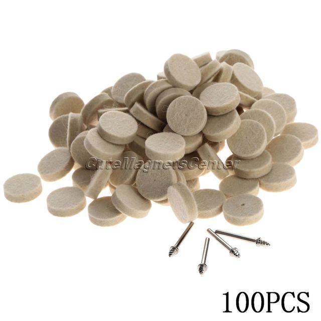 Accesorios Dremel, 100 Uds., 25mm, almohadilla de pulido para pulido de ruedas de fieltro de lana + 4 Uds. De vástagos de 3,2mm para herramienta rotativa Dremel