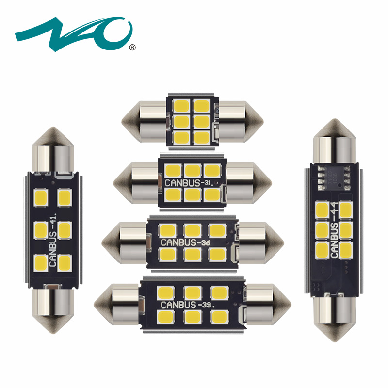 NAO 2x c5w led CANBUS led bulb 12V Festoon 28mm 31mm 36mm 39mm 41mm 44mm c5w c10w reading lamp car Interior Light 2835 SMD white car styling 31mm 36mm 39mm 41mm c5w c10w canbus error free auto festoon smd 4014 led car interior dome lamp reading bulb white