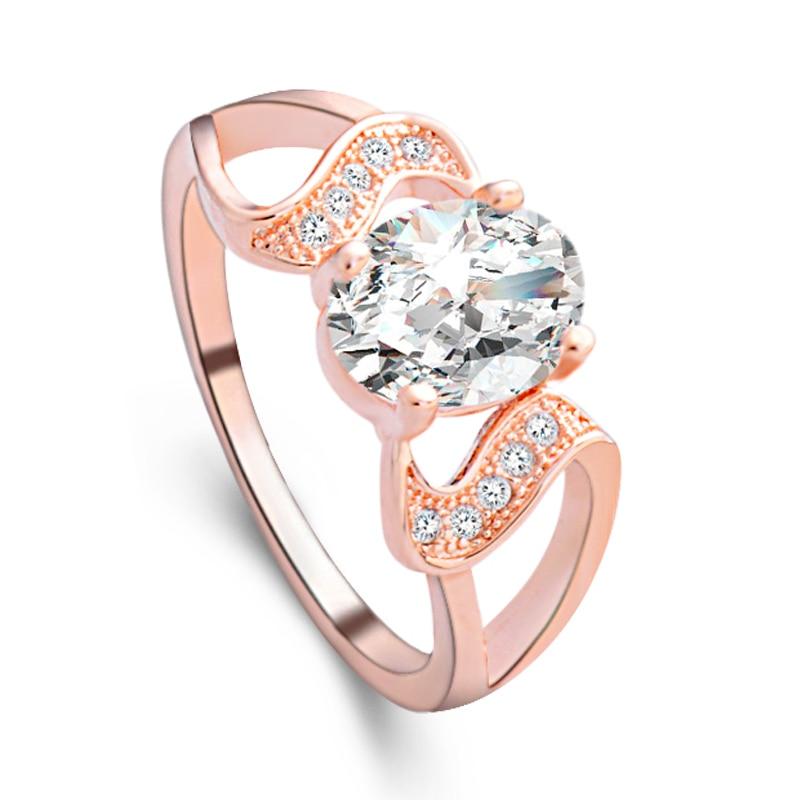 Pembelian terbaik ) }}H:HYDE Classic anillos mujer bague aros Silver / Rose Gold Color Rhinestones Studded