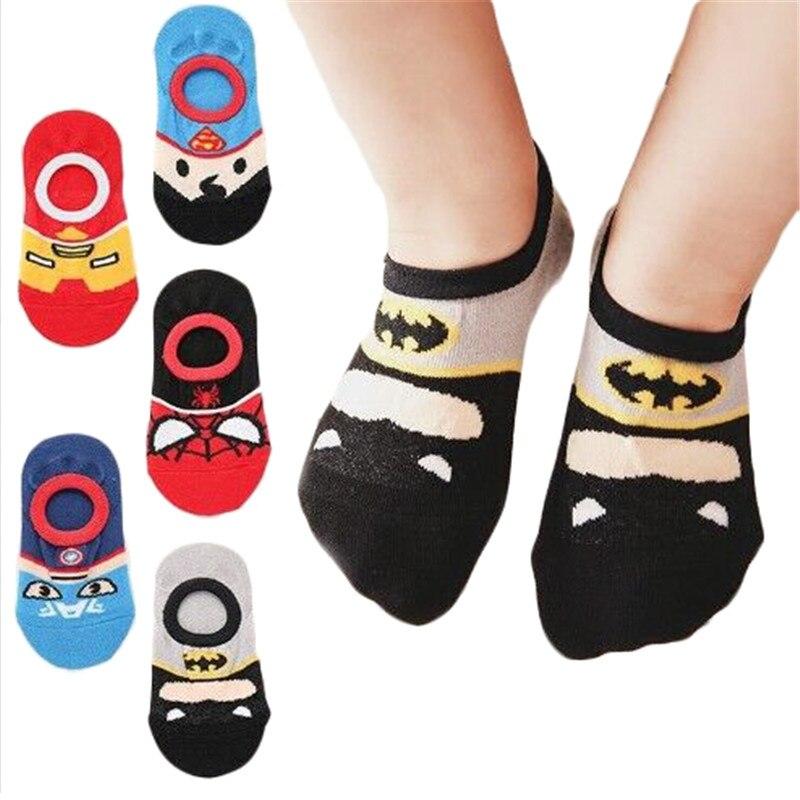 Kids Baby Short Socks 2019 Marvel Superman Batman Spiderman Captain American Children's Cotton Socks