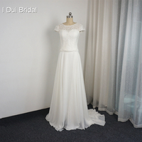 Short Sleeve Lace Wedding Dresses Seperat Two Piece Real Photo High Quality Button Back Custom Made