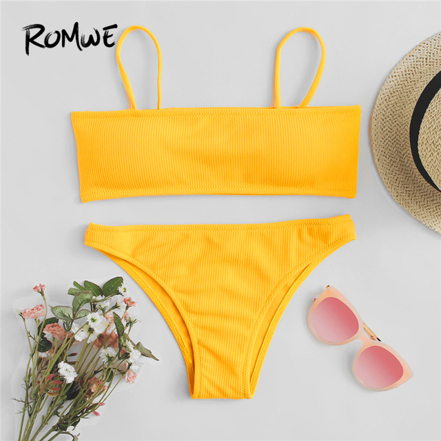 b041361d945ed Romwe Sport Adjustable Straps Bikini Set Yellow Chest Pad Women Bathing  Size Swimwear Separation Piece Summer