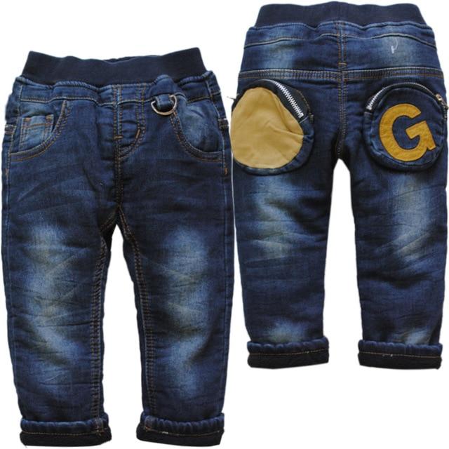 6175 BABY winter boy jeans denim + fleece add warm double-deck navy blue trousers kids casual  pants child new fashion