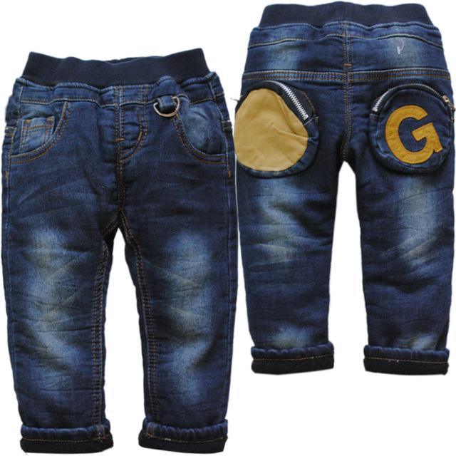 6175 BEBÉ de invierno boy jeans denim + fleece añadir caliente doble-cubierta azul marino pantalones niños pantalones casuales niño nueva moda