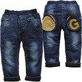 6175 DO inverno DO BEBÊ calças de brim menino denim + lã adicionar quente double-deck azul marinho calças crianças calça casual criança nova moda