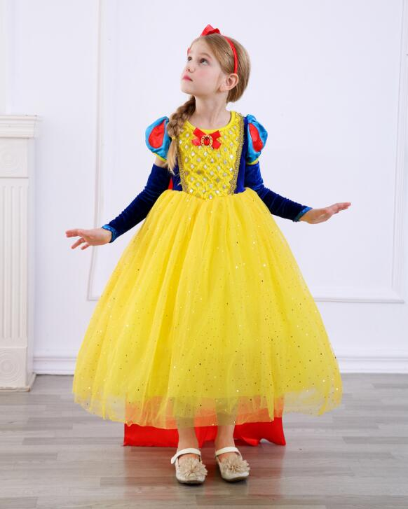 New design girl snow white princess costumes cosplay cute kids performance clothes cartoon girls chiffon dress party clothing