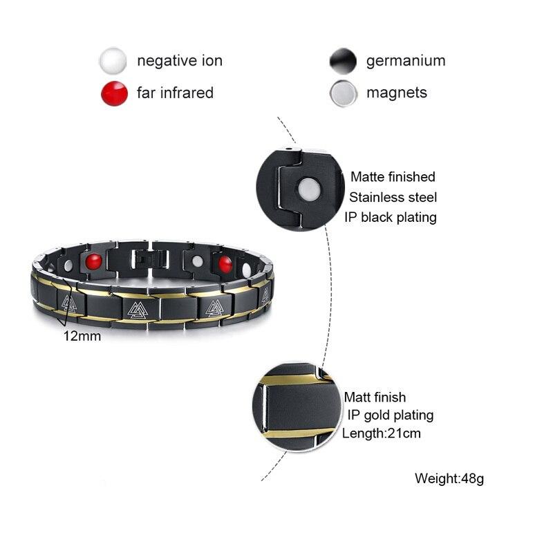 Bracelet magnétique Viking noir 5