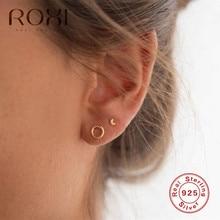 ROXI Fashion Simple Geometric Small Circle Earrings for Women Minimalist Jewelry Korean Genuine 925 Sterling Silver Earring Gift