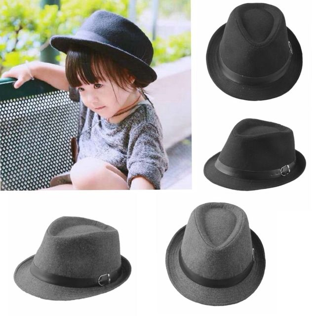 d20c0e9dc93 Kid s Wool Blend Brim Flat Top Fedora Hat Trilby Jazz Cap Spring Children  Boy Girl Fedoras