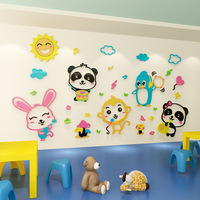 Creative DIY Cartoon forest animals INS chidren's room bedroom living room TV background wall decoration 3D acrylic wall sticker