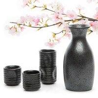 Juego de 1 recipiente para Sake + 4 tazas de Sake hechas a mano de cerámica china para té