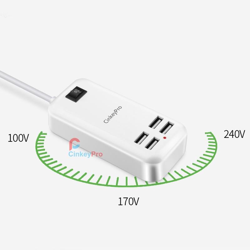 CinkeyPro 4-portar USB-laddare 5V / 3A Adapter 1,5M kabelladdning - Reservdelar och tillbehör för mobiltelefoner - Foto 6