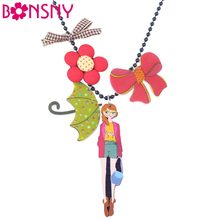Bonsny Long Chain Handmade Girl Flower Umbrella Bow Rosette Necklace Pendant Brand Design Fashion Jewelry For Women(China)