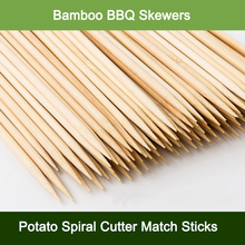 1000pcs Bamboo BBQ Skewers Potato Spiral Cutter Match Sticks Wood Barbecue Tools