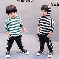 2pc Set Hoodied Coats Trousers Stripe Boys Suits Sport Clothes Baby Autumn Set Korean Fashion Children