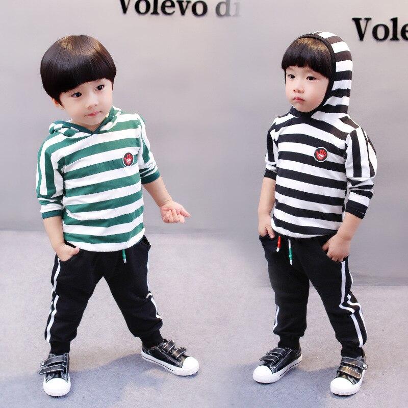 2pc/set Hoodied Coats +trousers stripe Boys suits sport Clothes  Baby  Autumn Set Korean Fashion Children Clothing  For 2-8Y