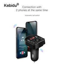 kebidu 3.1A Dual USB Bluetooth Car Charger Phone Charger FM Transmitter MP3 Radio Player Voltage LED Display Support TF Card USB(China)
