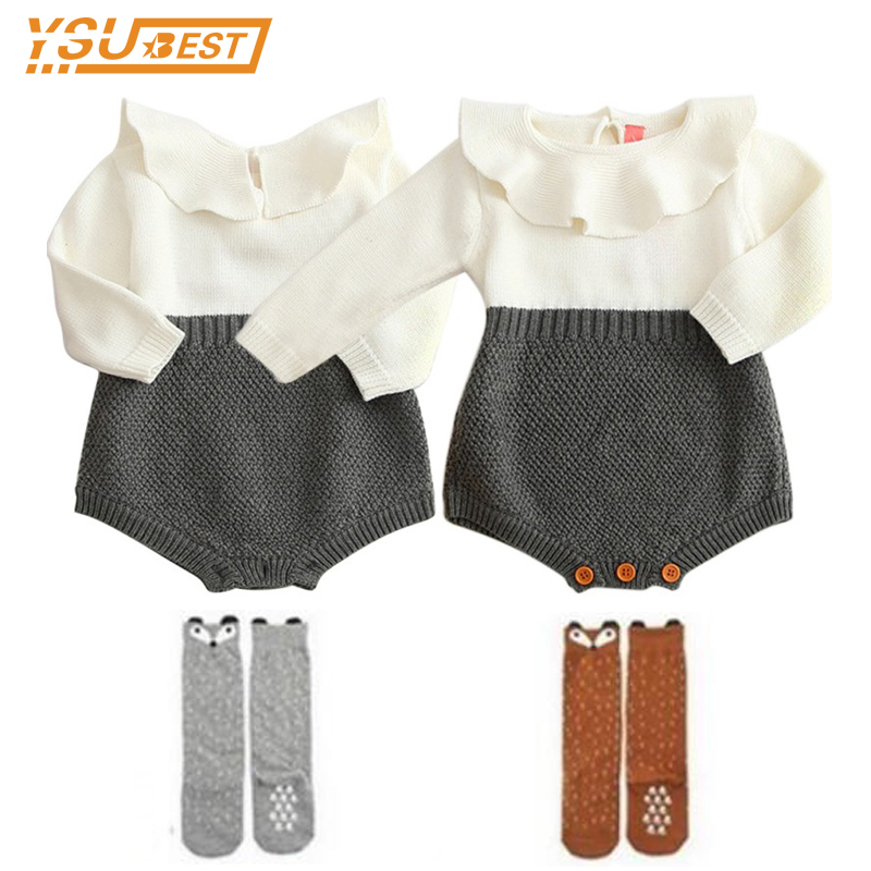 Baby Girls Long Sleeve Jumpsuits Baby Boys Infant Rompers Ruffles Princess Girl Sweet Knitted Overalls Infant Romper 70-100cm ...