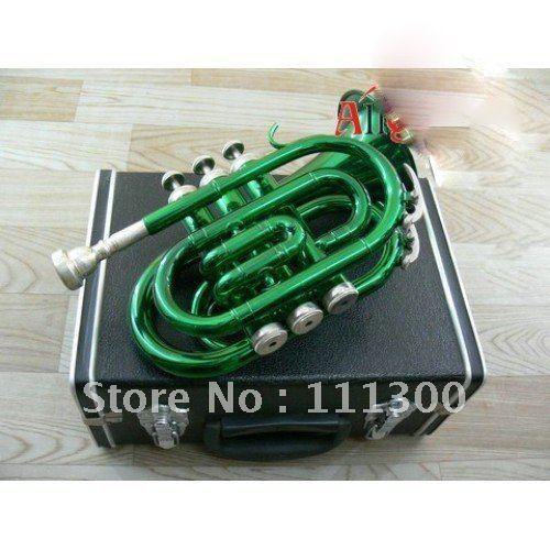 New arrival Hand Trumpet Green Brass body Bore size 11.60mm Bell DIA.101mm With hard case