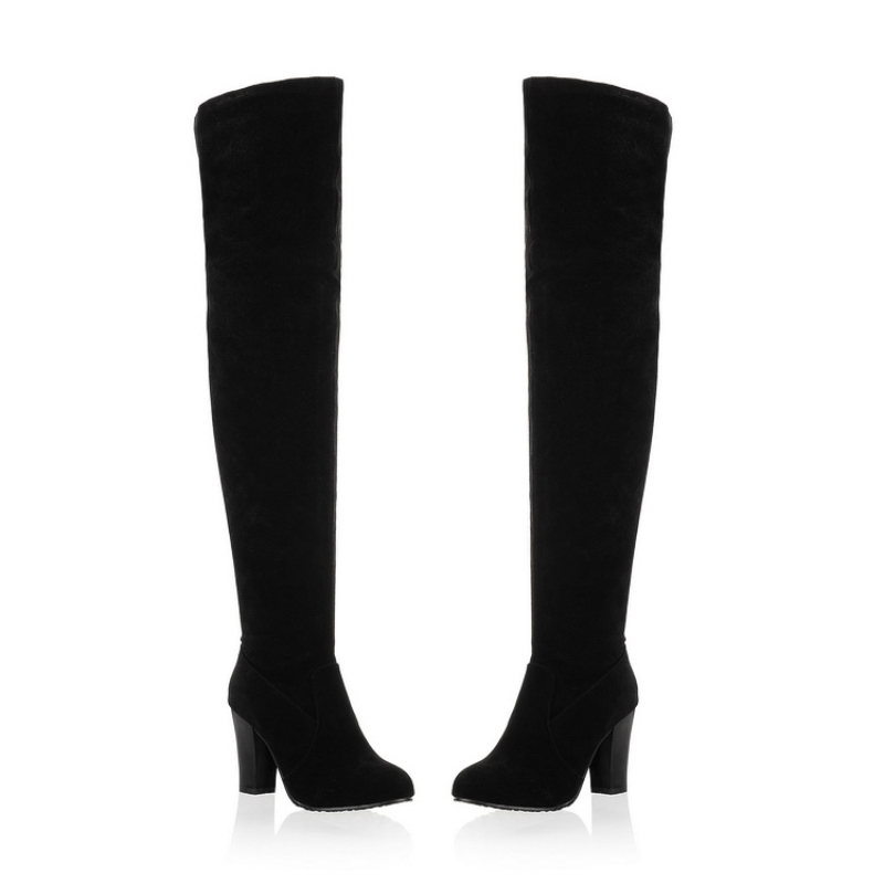 2016 New fashion women thigh high boots big size 34-43 Solid flock Round Toe high heel shoes winter Over-the-Knee boots CHD-C99