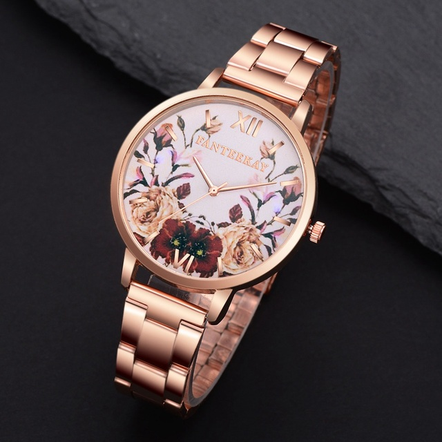 Women Rose Gold Stainless Steel Flowers Fashion Luxury Watch Business Women Dres