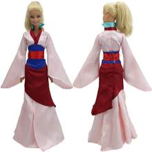 1143b5c11f0e8 Fairy Tale Dress Copy Mulan Princess Outfit Long Sleeves Gown Classic Skirt  Clothes For Barbie Doll Accessories Baby Gift Toy