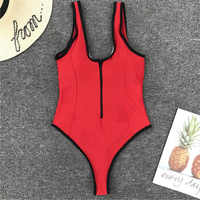 Traje de baño de una pieza con cremallera y cuello en V traje de baño de una pieza para mujer con cremallera traje de baño de corte alto monokini Tanga rojo traje de baño