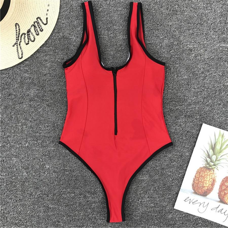 7081fcd18613 V pescoço zíper One-Piece Swimsuit alta corte um pedaço swimwear mulheres  maiô zíper alta corte monokini Tanga Vermelha maillot natação desgaste
