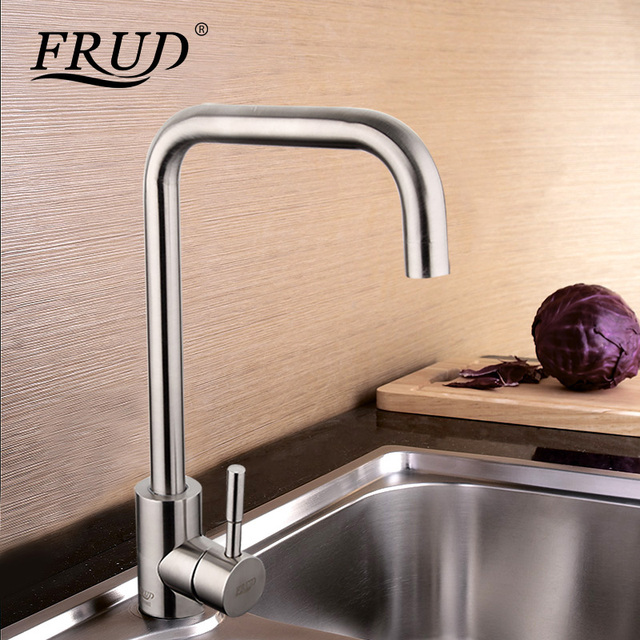 Frud High Quality Stainless Steel Tall Kitchen Sink Drinking Water Faucet  Sink Tap 360 Swivel Mixer