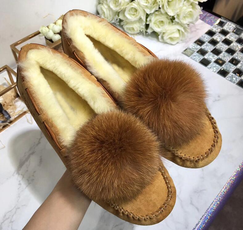 2018 woman Australia winter snow boots fashion hair ball new 100% pure sheepskin leather and fur boots warm snow <font><b>shoes</b></font> 35-42