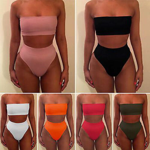 2Pcs Women's High Waisted Bikini Set Push Up Bra Casual Sexy Solid Color Swimsuit Fashion Strapless Polyester Swimwear Bathing