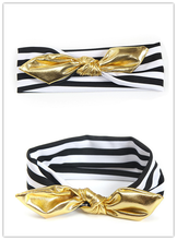 1pc Gold Rabbit Ear Headband Little Girl Elastic Hair Bow Knot Hair Bands Kids Hair Accessories Headwear Hair Style Tool girl hair bow knot ribbon scrunchy elegant hair accessories for women for hair elastic bands new arrival headwear hairband