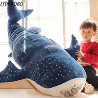 LYDBAOBO 1PC 100CM Giant Lovely Blue Shark Stuffed Plush Toys Kid Big Fish Whale Soft Pillow Doll Home Decoration Children Gift