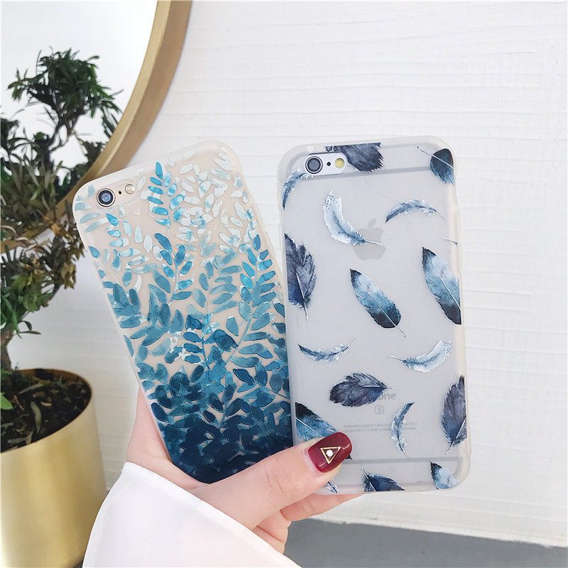 Relief Phone Cases For iphone 6 Case Blue Leaf Pink Girl Feather Matte Soft TPU Cover For iPhone 7 6 6S 8 Plus X Case Coque Capa