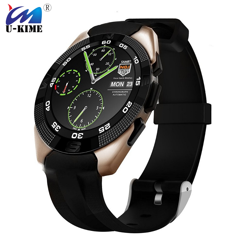 U-KIME G5 Smart Watch Vintage Ultra Thin Waterproof Bluetooth Smartwatch Fitness Tracker Heart Rate Monitor SMS Call Reminder g5 heart rate monitor smart watch mtk2502 fitness tracker call sms reminder camera smartwatch for ios android pk gt08 u8 dz09