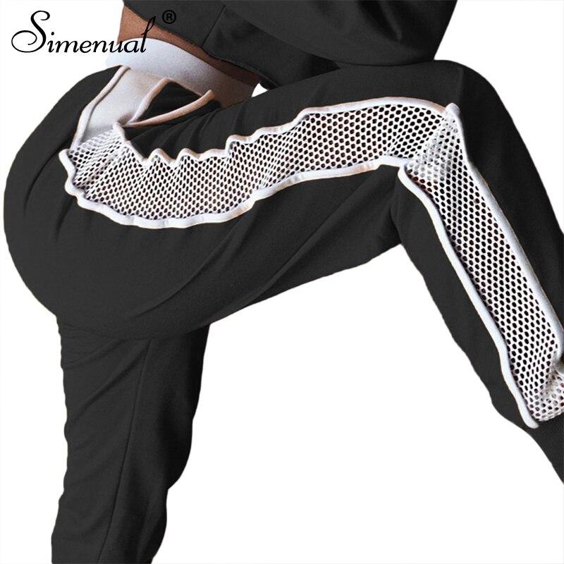 Simenual Athleisure mesh splice women harem pants joggers fashion summer black women's trousers high waist sportswear capris