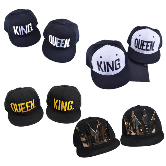 2pcs A Lot KING QUEEN Embroidery Snapback Hat Metal Letter Baseball Caps Men  Women Couple Gifts d15fe7b39d5a