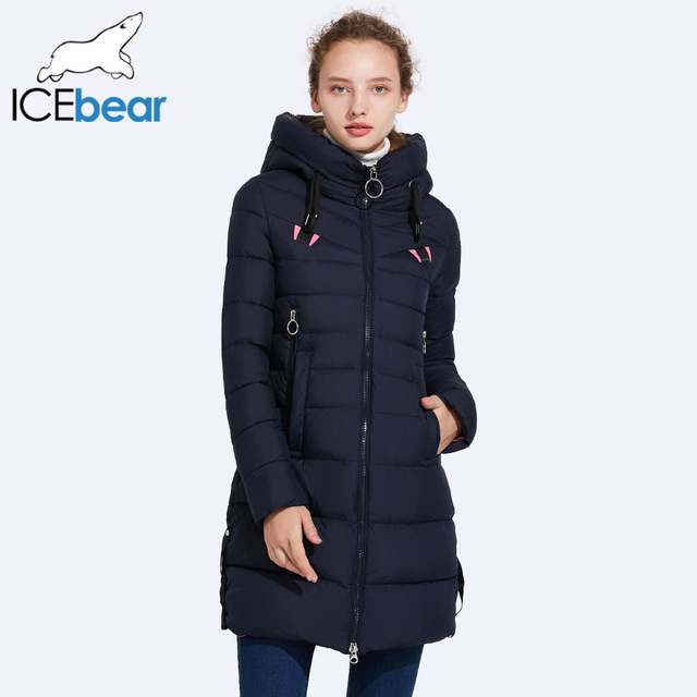 ICEbear 2017 Autumn And Winter Jacket Women New Fashion Brand Warm Coat Hat No-Removable Double Zipper Pocket 17G6158D