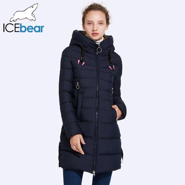 ICEbear осень 2017 г. и зимняя куртка Новинки для женщин модный бренд теплое пальто шляпу нет-Съемный двойной карман на молнии 17G6158D